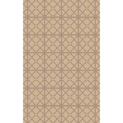 Hand-Woven Beige/Mauve Area Rug Rug Size: 5 x 76