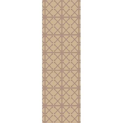 Hand-Woven Beige/Mauve Area Rug Rug Size: Runner 26 x 8