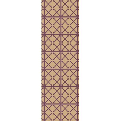 Donaghy Hand-Woven Beige/Magenta Area Rug Rug Size: Runner 26 x 8