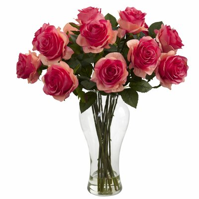 Shire Roses in Vase Color: Dark Pink