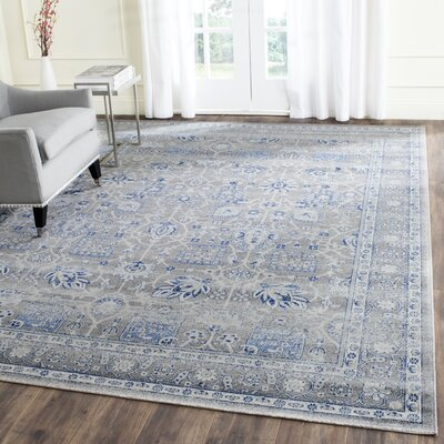 Bloomfield Power Loom Grey & Silver/Blue Area Rug Rug Size: Rectangle 4 x 6
