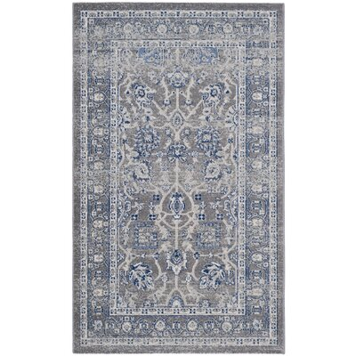 Bloomfield Power Loom Grey & Silver/Blue Area Rug Rug Size: 3 x 5
