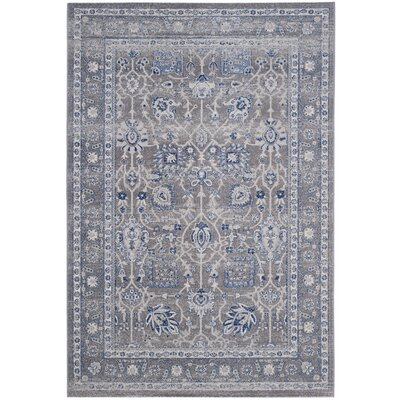 Bloomfield Power Loom Grey & Silver/Blue Area Rug Rug Size: 4 x 6