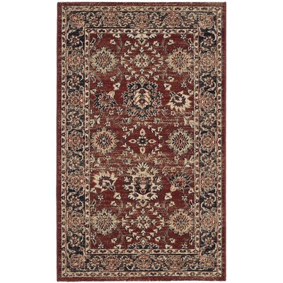 Bloomfield Rust/Navy Oriental Area Rug Rug Size: Rectangle 3 x 5