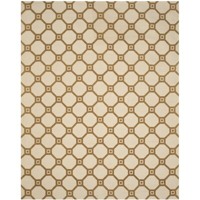 Canaan Hand-Loomed Ivory/Gold Area Rug Rug Size: Rectangle 23 x 39