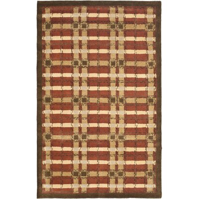 Colorweave Plaid Hand-Tufted Rust Area Rug Rug Size: 9 x 12