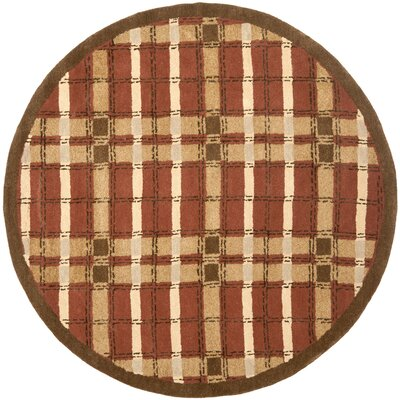 Colorweave Plaid Hand-Tufted Rust Area Rug Rug Size: Round 6 x 6