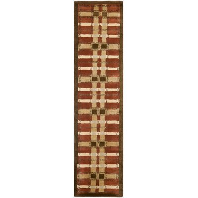 Colorweave Plaid Hand-Tufted Rust Area Rug Rug Size: Runner 23 x 10