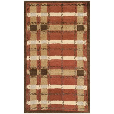 Colorweave Plaid Hand-Tufted Rust Area Rug Rug Size: 26 x 43