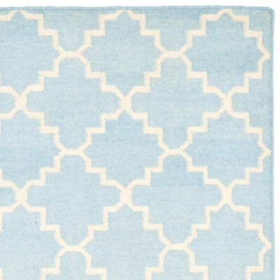 Danbury Hand-Woven Wool Light Blue/Ivory Area Rug Rug Size: Rectangle 9 x 12