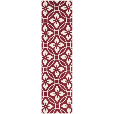 Waddington Hand-Hooked Red / Ivory Area Rug Rug Size: Runner 23 x 8