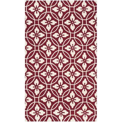 Waddington Hand-Hooked Red / Ivory Area Rug Rug Size: 36 x 56