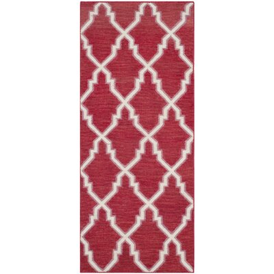 Danbury Hand-Woven Red / Ivory Area Rug Rug Size: Runner 26 x 6