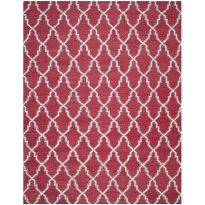 Danbury Hand-Woven Wool Red/Ivory Area Rug Rug Size: Rectangle 8 x 10