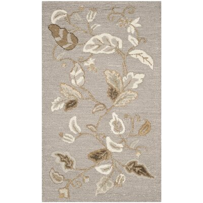 Autumn Woods Hand-Tufted Gray Squirrel Area Rug Rug Size: 26 x 43