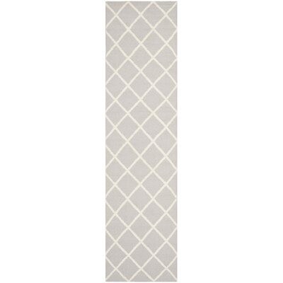 Danbury Hand-Woven Wool Gray/Ivory Area Rug Rug Size: Runner 26 x 8