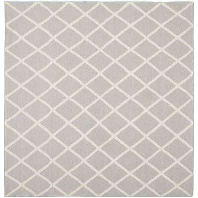 Danbury Hand-Woven Wool Gray/Ivory Area Rug Rug Size: Square 6