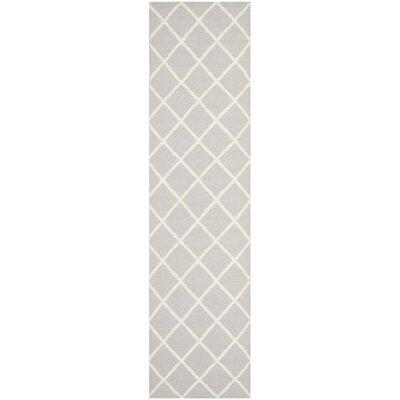 Danbury Hand-Woven Grey / Ivory Area Rug Rug Size: Runner 26 x 8