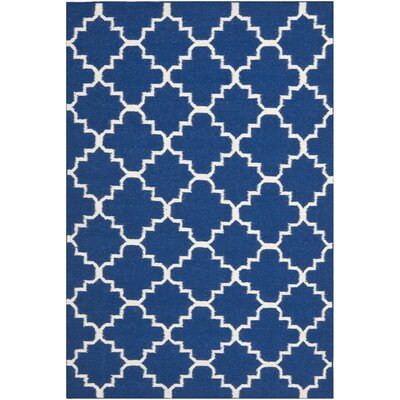 Danbury Dark Blue/Ivory Area Rug Rug Size: Rectangle 4 x 6