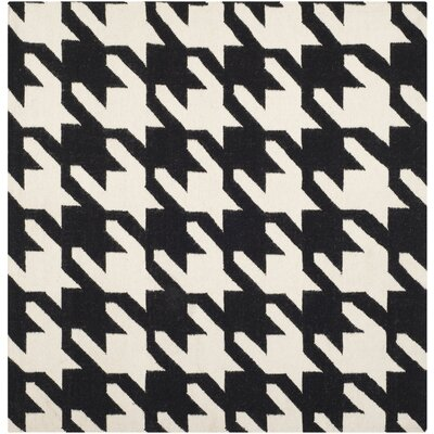 Rodgers Hand-Woven Wool Black/Ivory Area Rug Rug Size: Square 6