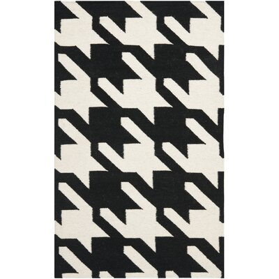 Rodgers Hand-Woven Wool Black/Ivory Area Rug Rug Size: Rectangle 4 x 6