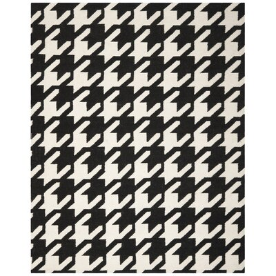 Rodgers Hand-Woven Wool Black/Ivory Area Rug Rug Size: Rectangle 5 x 8