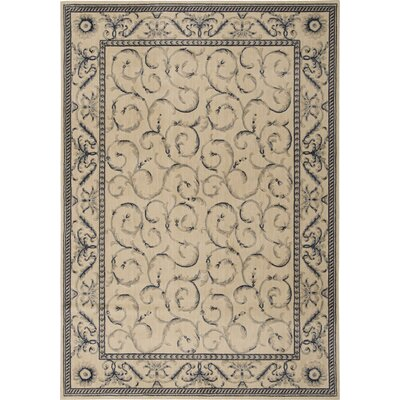 Dalrymple Ivory/Blue Area Rug Rug Size: Rectangle 36 x 56