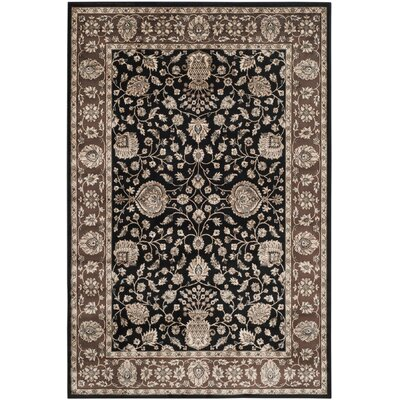 Bedford Black/Red Area Rug Rug Size: 51 x 77