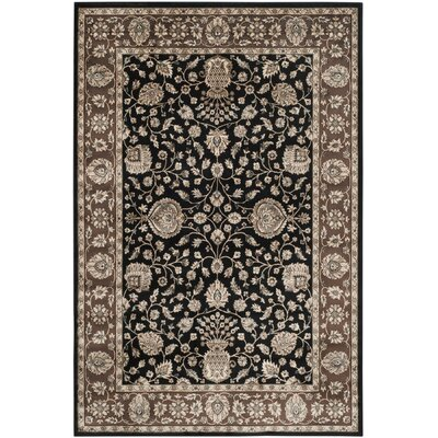 Bedford Black/Red Area Rug Rug Size: 67 x 92