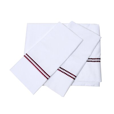 Bolivar 400 Thread Count Dot Embroidered Cotton Deep Pocket Sheet Set Size: King, Color: Carmine Red