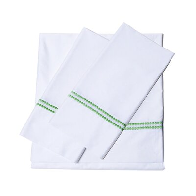 Bolivar 400 Thread Count Dot Embroidered Cotton Deep Pocket Sheet Set Size: Full, Color: Meadow Green