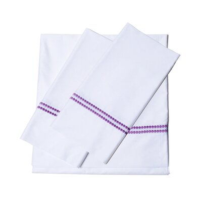 Bolivar 400 Thread Count Dot Embroidered Cotton Deep Pocket Sheet Set Color: Purple, Size: Extra-Long Twin