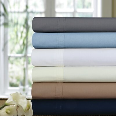 Bolivar 300 Thread Count Egyptian Quality Cotton Percale Deep Pocket Sheet Set Size: Queen, Color: Sky