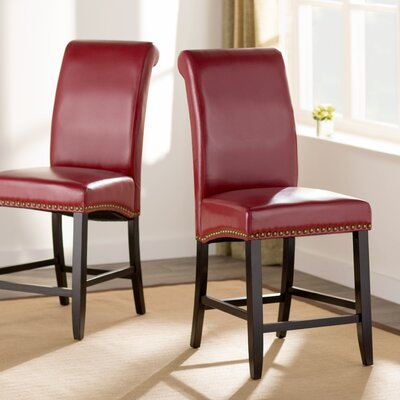Mather 24 inch Bar Stool (Set of 2) Upholstery: Red