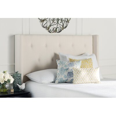 Smyrna Queen Upholstered Wingback Headboard Upholstery: Cream