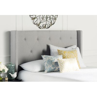 Smyrna Queen Upholstered Wingback Headboard Upholstery: Light Gray