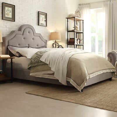 Carrollton Upholstered Panel Bed Size: Full, Color: Light Grey