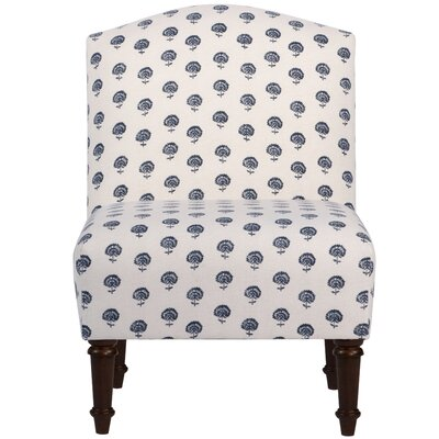 Springdale Camel Back Slipper Chair Upholstery: Hand Flora Indigo, Nailhead Detail: No Trim