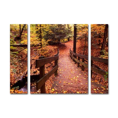 Autumn Bridge 3 Piece by Kurt Shaffer Photographic Print on Wrapped Canvas Set Size: 24