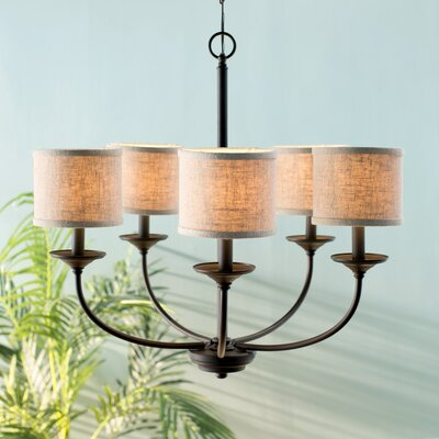 Kipling 5-Light Shaded Chandelier Finish: Burnished Bronze, Shade Color: White