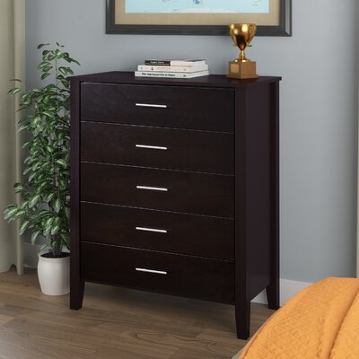 Harleysville 5 Drawer Chest Color: Dark Cappuccino