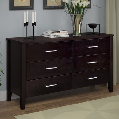 Tyre 6 Drawer Double Dresser Color: Dark Cappuccino