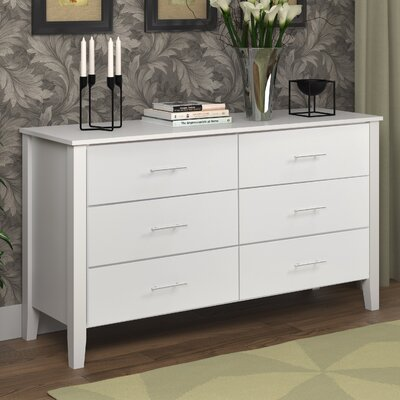 Tyre 6 Drawer Double Dresser Color: Snow White
