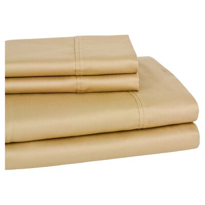 Moravia 300 Thread Count Wrinkle Resistant Sateen Sheet Set Size: King, Color: Gold