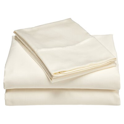 Moravia 300 Thread Count Wrinkle Resistant Sateen Sheet Set Size: Queen, Color: Ivory