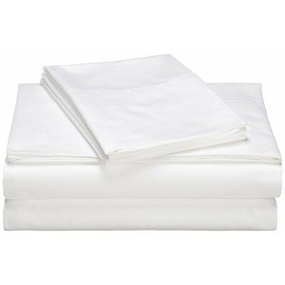 Moravia 300 Thread Count Wrinkle Resistant Sateen Sheet Set Size: Full, Color: White