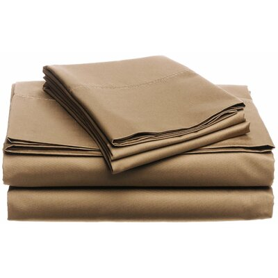 Moravia 300 Thread Count Wrinkle Resistant Sateen Sheet Set Size: Full, Color: Fawn
