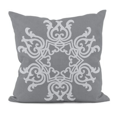 Poestenkill Floral Motif Throw Pillow Size: 16 H x 16 W, Color: Grey