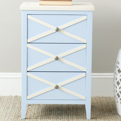 Chereen 3 Drawer End Table Finish: Light Blue