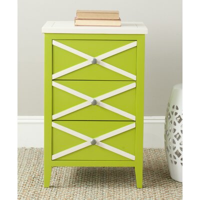 Chereen 3 Drawer End Table Color: Lime Green